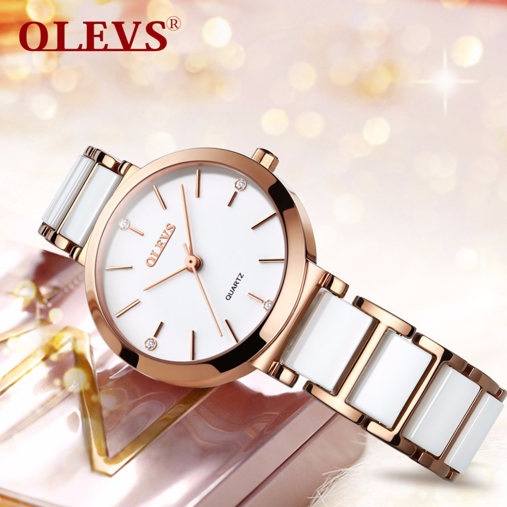 OLEVS Minimalist style Women Watches luxury Fashion Quartz wrist watches for women Ceramics Ladies Clock Relogio Masculino NEW