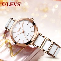 OLEVS Minimalist style Women Watches luxury Fashion Quartz wrist watches for women Ceramics Ladies Clock Relogio Masculino NEW