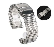 18mm 20mm 22mm 24mm Stainless Steel Milanese Shark Mesh Watch Band Strap Silver Bracelet for Omega Tissot Seiko Watchband стоимость