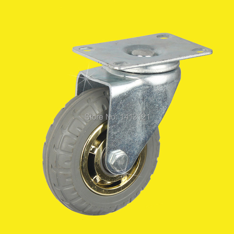free shipping 10cm caster solid rubber tire trolley wheel bearing caster universal mute Industrial small carts medical bed wheel 5 swivel wheels caster m12 industrial castor universal wheel nylon rolling brake medical heavy casters double bearing wheel