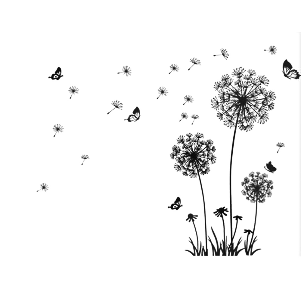 Removable diy waving dandelion decal butterflies flower wall sticker home decor