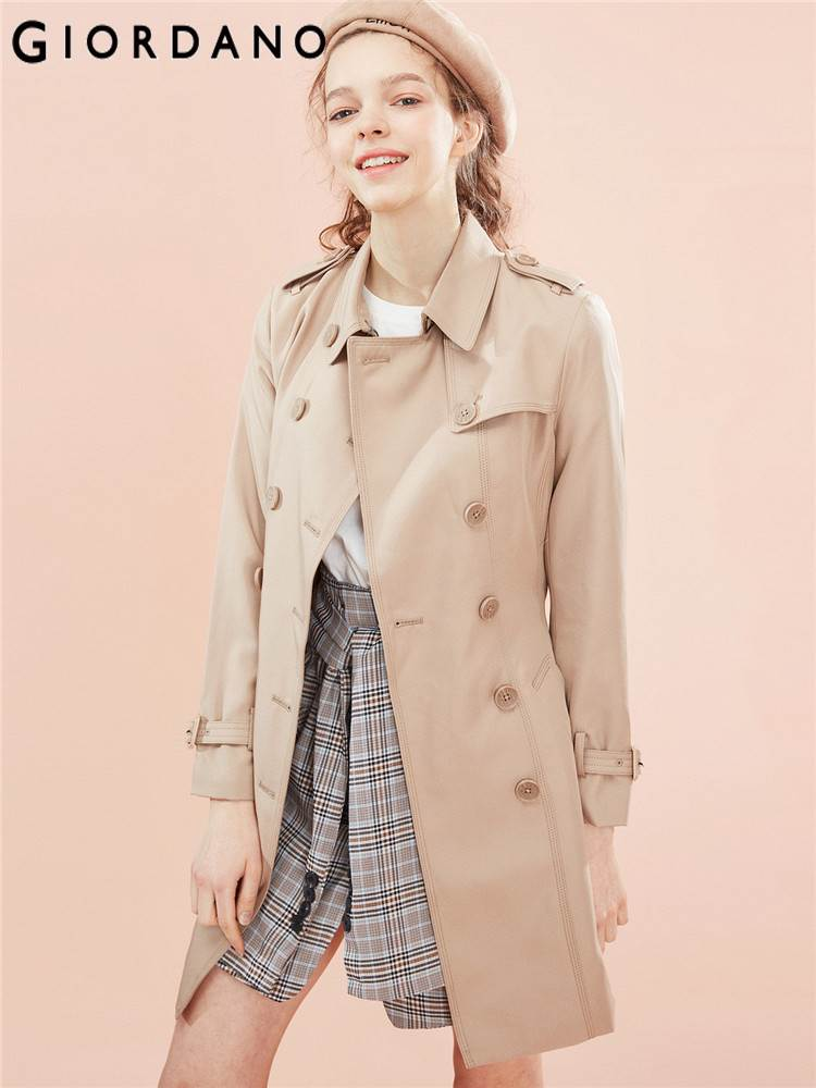 Giordano Women Trench Women Banded Waist Mid length Trench Coat Women Turn down Collar Adjustable Cuffs