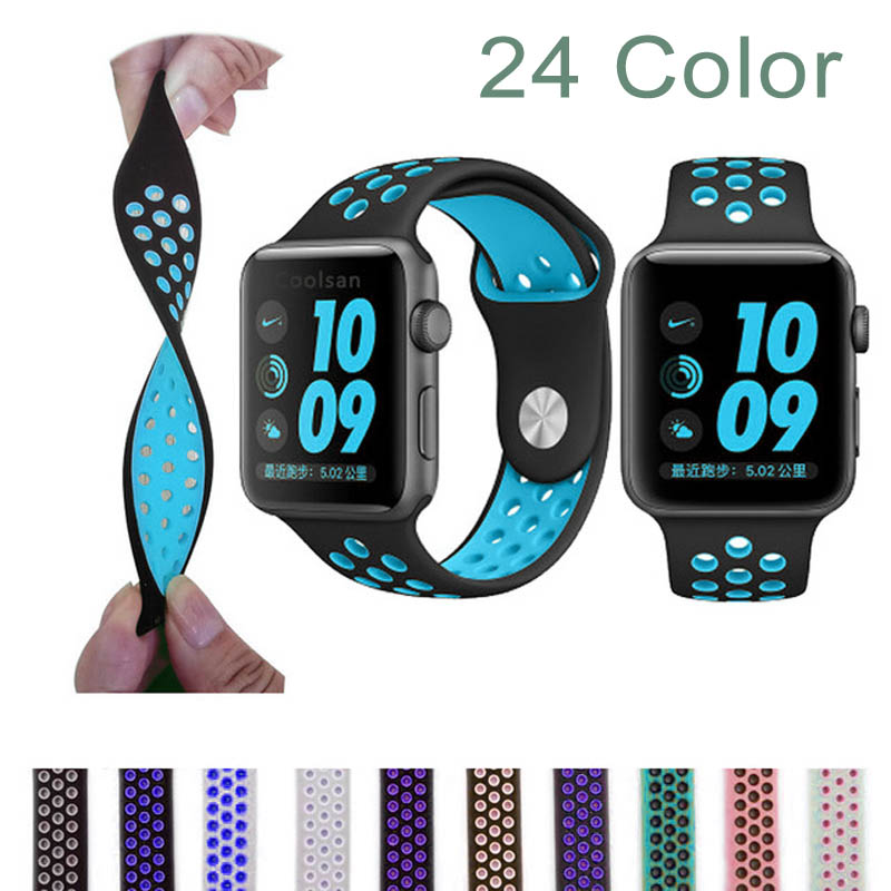 38mm 42mm watchband for NIKE series 1:1 original with Light Flexible Breathable silicone watch strap band for apple watch