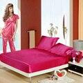 100% de cetim de seda folha de cama fronhas com elástico, Rei / rainha / cama de têxteis lar Sabanas