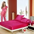 Venta al por mayor! 100% de la piel suave satén de seda sábana ajustable + fundas de almohada sábana con elástico, rey / reina / cama Sabanas textiles para el hogar
