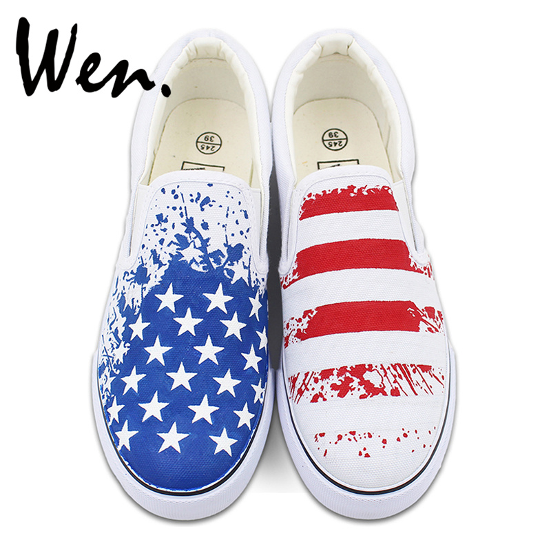 Wen Original Design American USA Flag Hand Painted Canvas Shoes Unisex Custom White Slip On Sneakers wen mexican style skulls totem original design hand painted shoes for men woman slip ons custom canvas sneakers