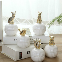 Pink and White Cute Animals ceramic jewelry boxes Wedding Ring Trinket Box with Crystal Earring Jewelry Storage Box Gift Crafts