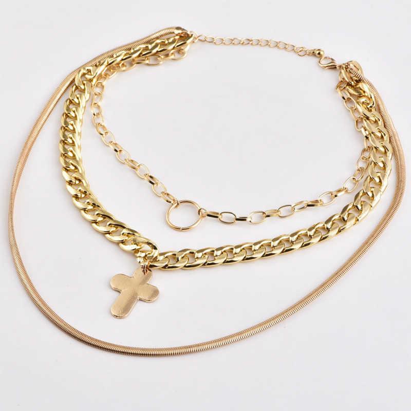 Wielowarstwowe łańcuch metalowy koło krzyż wisiorek naszyjnik kobiet złoty kolor 2018 moda biżuteria kobiety oświadczenie naszyjnik czeski