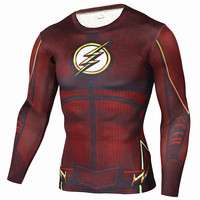 Mens Anime The Flash Barry Allen 3D Printed T Shirts Compression Shirt Fitness Men Crossfit Long