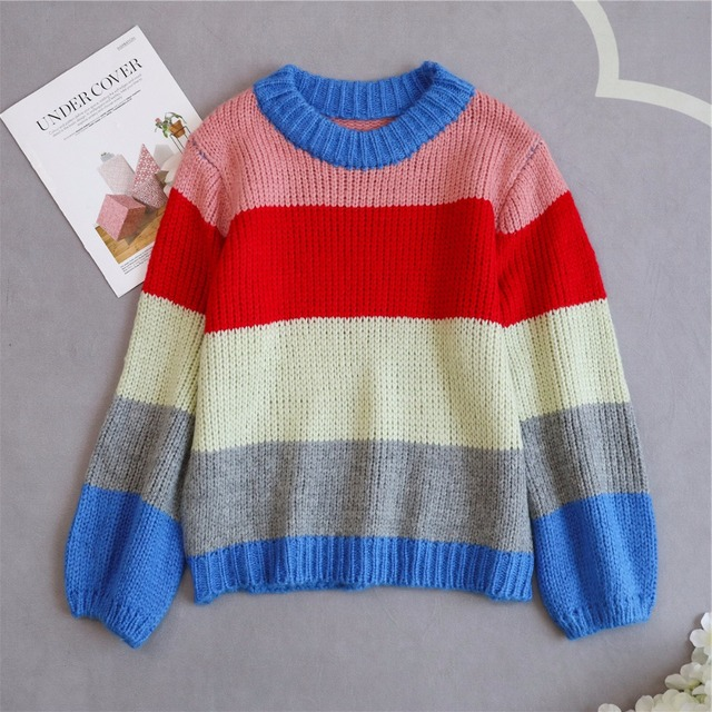 Lantern sleeve rainbow striped mohair sweater women pullovers o-neck loose knitted 2018 autumn new arrivals S,M,L 5