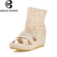 BONJOMARISA 2018 Brand Shoes Women Wedges High Heels Summer Shoes Sandal Fashion Lace Upper Platform Comfort