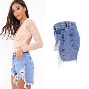 Image 3 - SupSindy kobiety krótkie dżinsy 2020 styl europejski Vintage wysokiej talii tassel Denim szorty luksusowe marki Slim Casual zgrywanie krótkie dżinsy