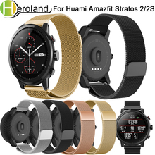Milanese loop Stainless steel Wristband for Original Xiaomi Huami Amazfit Stratos 2 2s/2th strap bracelet smart watch Band 22mm 22mm metal stainless strap for xiaomi huami amazfit pace stratos 2 2s watch bracelet band milanese loop magnetic strap wristband
