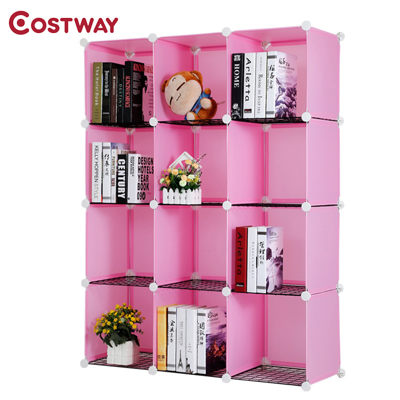 COSTWAY Resin Plastic Bookshelves DIY 12-Grid Portable Bedroom Storage Shelves Organizer Bookcase Boekenkast Librero W0237 360 degree rotation simple bookshelves multi storey floor bookcase shelves children s dormitory shelter