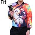 Plus Size 5XL Autumn Lion 3D Print Flight Bomber Jackets Men Fashion Streetwear Casual Coat Jaqueta Masculina #161383J