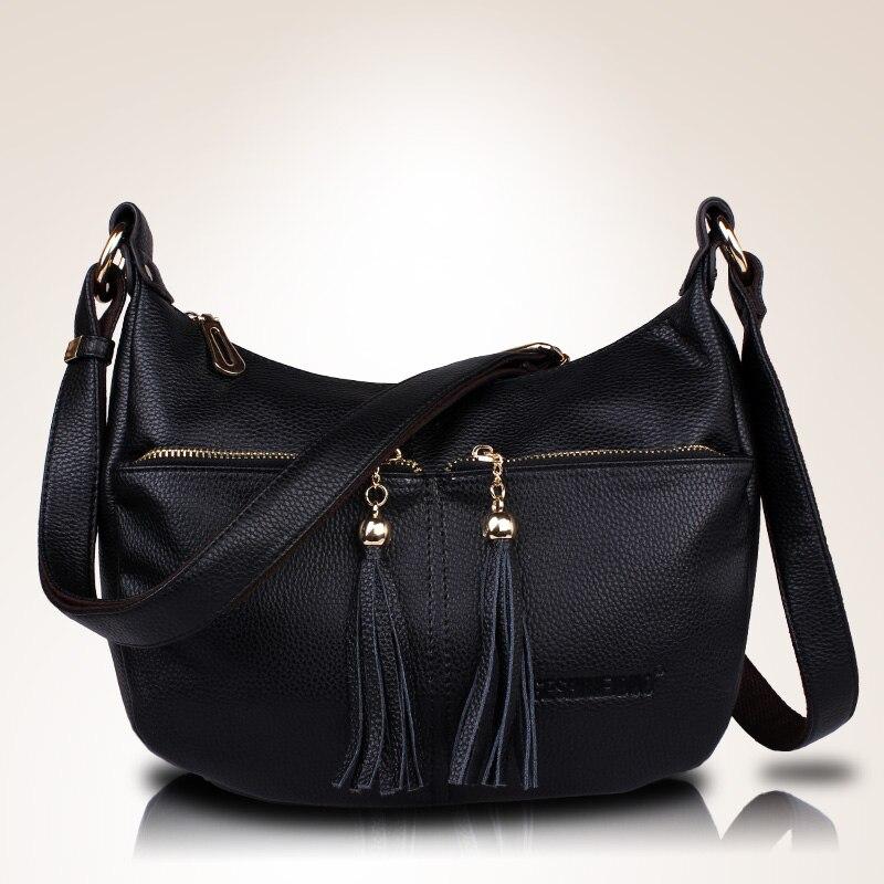 High Quality Women's Genuine Leather Handbags Shoulder CrossBody Bags Fashion Tassel Messenger Bags Hobos Women Bags цены онлайн