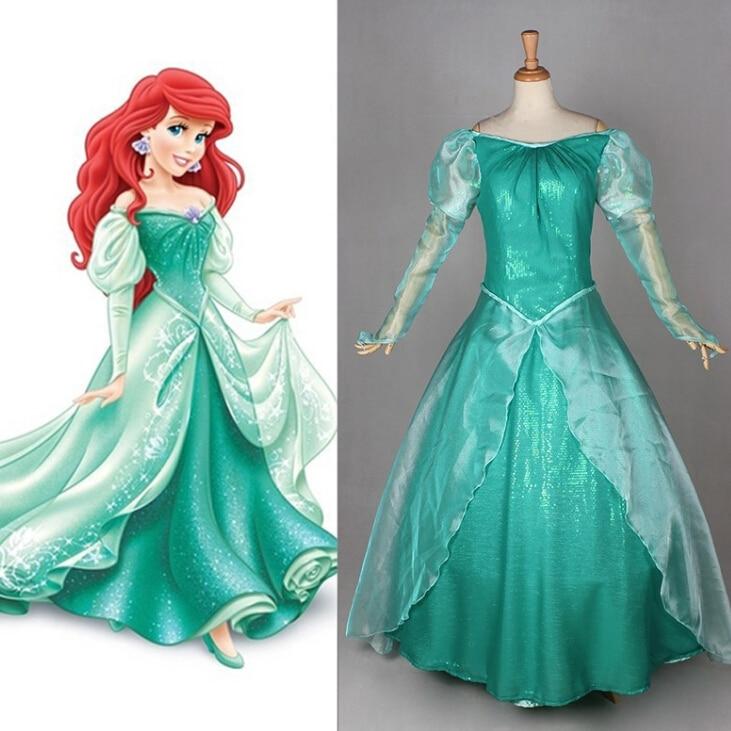 Nouvelle robe de mariée sur mesure fantaisie Halloween petite princesse Ariel robe femmes adulte Ariel Costume de sirène