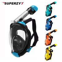 Diving Mask Full Face Snorkel Mask Set with Anti Fog Advanced Breathing System Adult Kids Swimming Mask Detachable Camera Mount