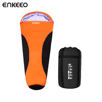 Enkeeo Mummy Sleeping Bags Waterproof Shell Inner Hollow Cotton Lightweight Compact For Camping Backpacking Hiking Orange