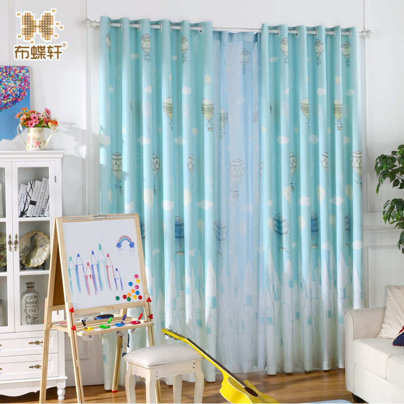 Window printed balloon curtain living room screen boys sheer children cartoon blue curtains for Balloon curtains for living room