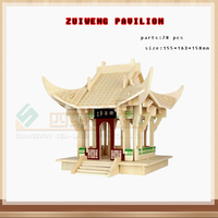 DIY 3D Wood Assembling Toys Chinese Style Garden Castle Model Jigsaw Puzzle Wooden Manual Model Of