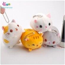 8 см японский Kawaii набивной Кот Мультяшные плюшевые игрушки мягкие кошки аниме брелок животные Маленькая подвеска брелок со стразами детские подарки игрушки
