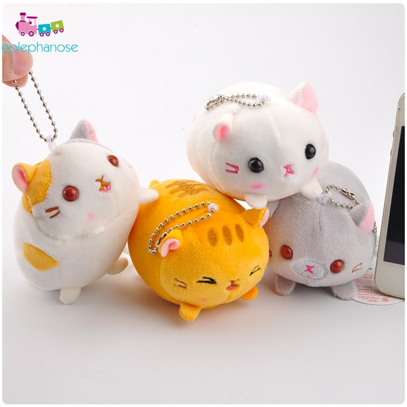8cm Japanese Kawaii Stuffed Cat Plush Toys Cartoon Soft Cats Anime Keychain Animals Small Pendant Bag Key chain Kids Toy Gifts image