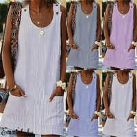 2019 Women's Plus Size Linen Dress Women Crew Neck Striped Casual Shirt Dress With Pockets Daily Button Plaid Party Dress