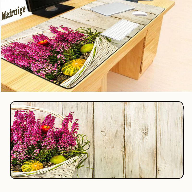 Mairuige Flowers with Wood 900*400*2mm Soft Non-Skid Rectangle Large Mousepad Gaming Mouse Pad PC Computer Laptop Gaming Mice