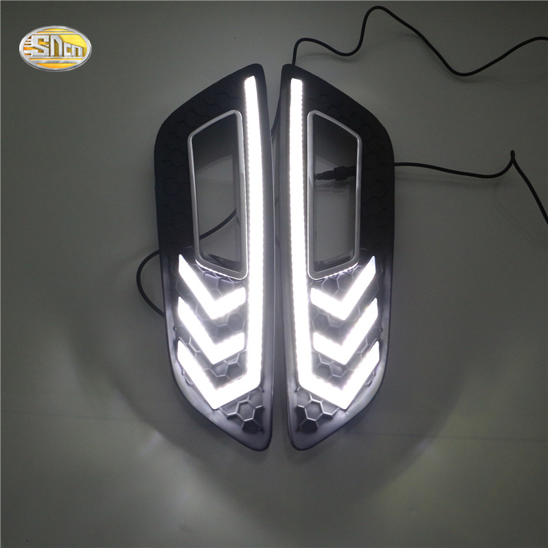 ФОТО SNCN LED Daytime Running Lights for Ford Focus 4 2015 2016 Mustang-model DRL front fog lamp cover driving lights