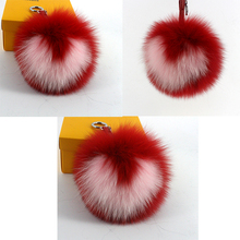 heart fur Keychains light Super BIg 14cm Fox Fur Pompoms keychains handbag accessories fox hair bulb real fur Pompom keychain
