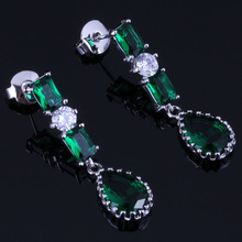 Prominent Water Drop Green Cubic Zirconia White CZ 925 Sterling Silver Dangle Earrings For Women V0733