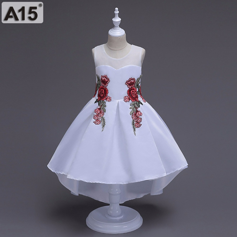 A15 Fancy Lace Girls Wedding Gown Summer Teenage Girls Party Costume for Kids Clothes Children Clothing Girl Prom Ceremony Dress 5 16y teenage girls white long high waist flower princess wedding dress kid prom costume formal gown clothes for girl ceremony