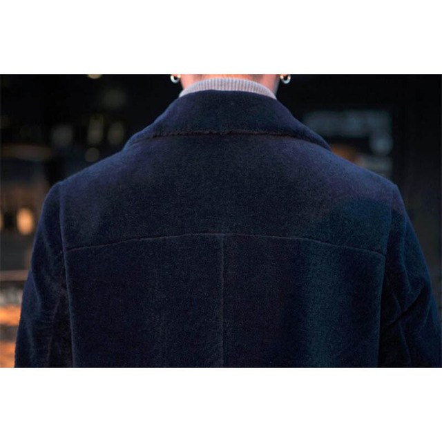 Natural wool coats outerwear men turn down collar single breasted warm winter real wool jackets man trench coats plus size