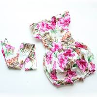 Retail Summer Toddler Girls Rompers Floral Leopard Print Baby Girl Ruffle Jumpsuits With Headband Infant Kids