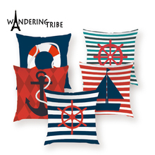 Marine Anchor Boat Colorful Throw Pillows Case Nautical Nordic Decor Pillow Covers Navy Sea  Home Decoration Sofa Cushion Cases