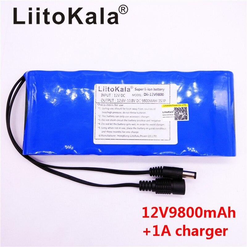 HK LiitoKala 12 v 9800 mah DC 12 v 12.6 v Super Bateria Recarregavel UE/EUA plug adaptador para CCTV caméra DE vidéo Da Bateria