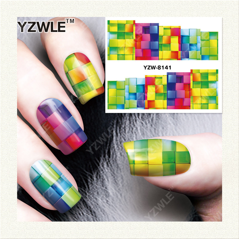YZWLE  1 Sheet DIY Designer Water Transfer Nails Art Sticker / Nail Water Decals / Nail Stickers Accessories (YZW-8141) yzwle 1 sheet diy designer water transfer nails art sticker nail water decals nail sticker accessories yzw 8196