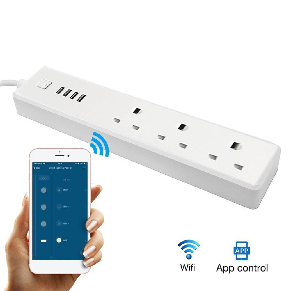 WiFi Smart Power Strip Socket Voice Control Power Strip Timer Switch Outlet 3 AC Outlets 4 USB Port for Alexa Google HomeWiFi Smart Power Strip Socket Voice Control Power Strip Timer Switch Outlet 3 AC Outlets 4 USB Port for Alexa Google Home