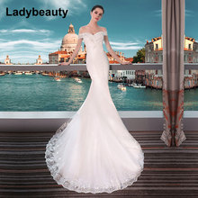 Ladybeauty New 2018 Sexy Mermaid Wedding Dresses Boat Neck Short Sleeve Lace Bride Gown