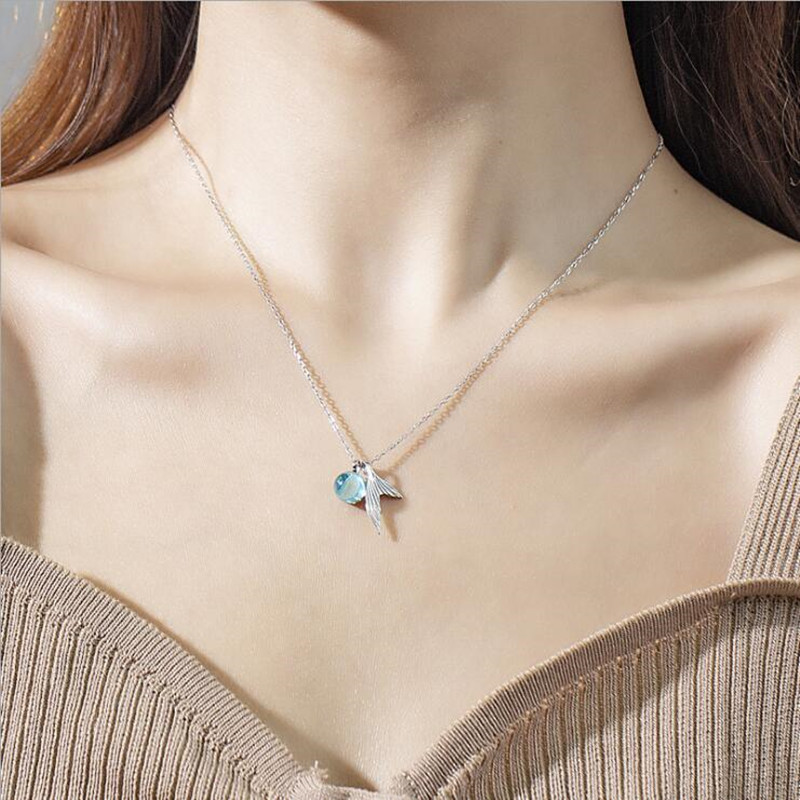 Fake One Penalty Ten  45CM Mermaid 92.5% Sterling Silver Chain Crystal Necklace Ring Jewelry Set