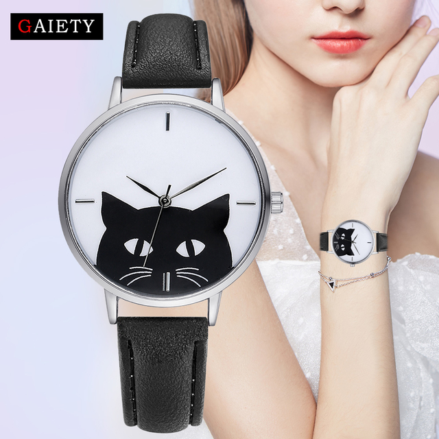 Gaiety Watch Women Girl Student Steel Case Leather Casual Fashion Female Cat Wat