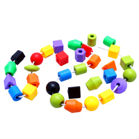Plastic Beads Building Blocks For Kid Girls Necklace Bracelet DIY Beads Kit Set Educational Developmental Toys