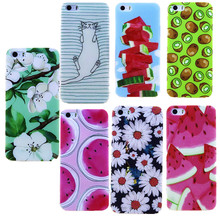 Flower Pattern For Iphone 4 4S 5 5S SE 6 6S Cases TPU Thin Skin Transparent Side Phone Bags Case For Apple Iphone