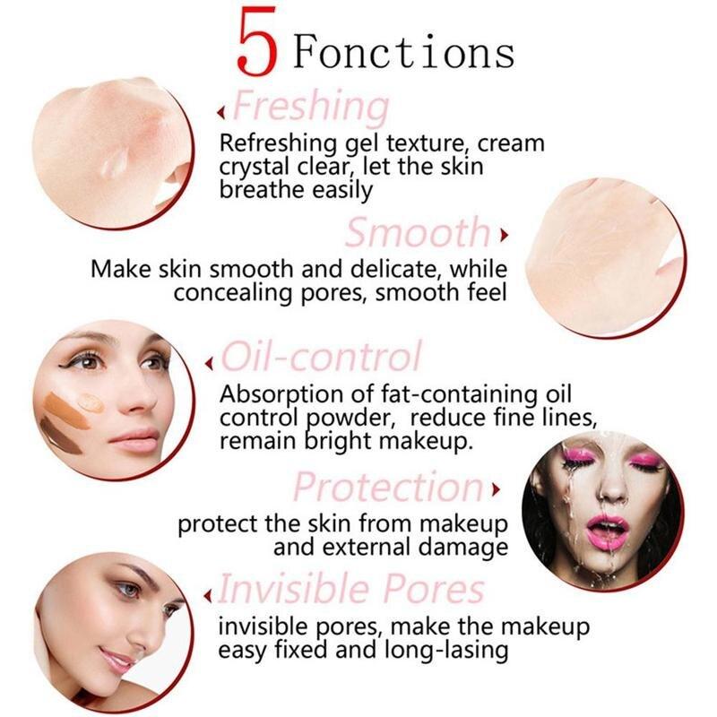SACE LADY Face Base Primer Cream Liquid Matte Fine Lines kontrola oleju krem do twarzy rozjaśniający podkład podkładowy makijaż kosmetyczny 6