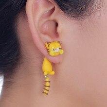 TTPAIAI 30 Brand Handmade Cartoon Garfield Cat Stud Earrings Fashion Polymer Clay Cute 3D A