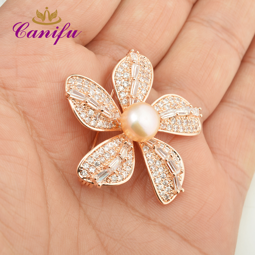 e76386e8b55 Canifu Fashion Full Rhinestone Rose Gold Color Five leaf Flowers shape  Luxury Pearl wedding brooches pin gifts for women-in Brooches from Jewelry  ...