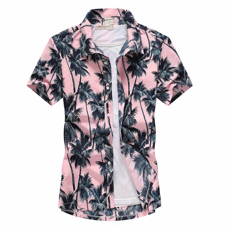 Мужские Белые Гавайские пляжные рубашки летние с коротким рукавом тропические пальмы печати Алоха рубашки на пуговицах Праздничная Вечеринка Camisas Гавайская
