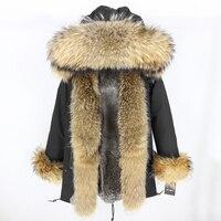 Winter Jacket Women Brand 2019 Real Fur Coat Long Parka Real Raccoon Fur Collar Hood Silver Rabbit Fur Liner Streetwear Brand