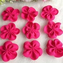 40pcs 40mm Fushia Color Chiffon Ribbon Flowers Double Handmade Flowers Apparel Accessories Sewing Appliques DIY Crafts A644 цена